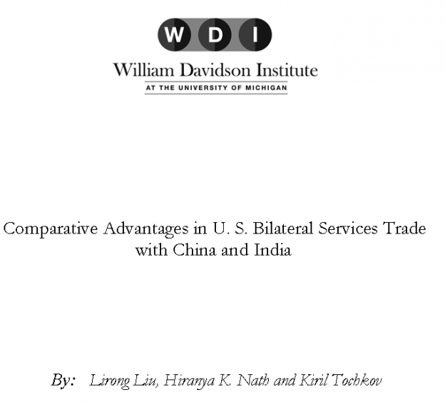 Comparative Advantages in U. S. Bilateral Services Trade with China and India, Lirong Liu, Hiranya K. Nath and Kiril Tochkov