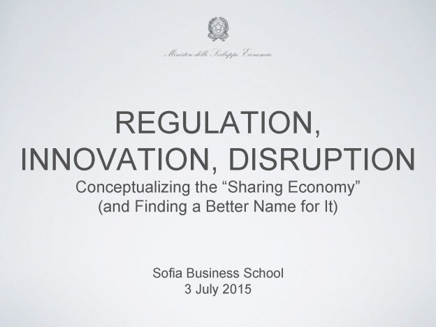 Regulation, Innovation, Disruption, Carlo Stagnaro